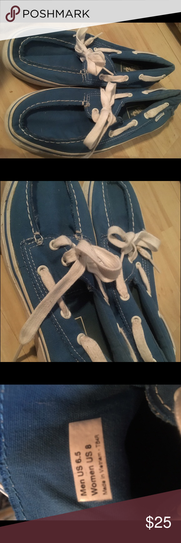 ec92325877 Blue Vans Gently used blue vans. Men s size 6.5 and Women s size 8.  Literally only worn about 4 times. Vans Shoes Sneakers