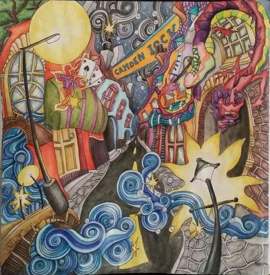 3rd Page Of The Magical City Coloring Book Titled Camden Colored With Inktense Pencils By Dayna Brown 3 7 2016