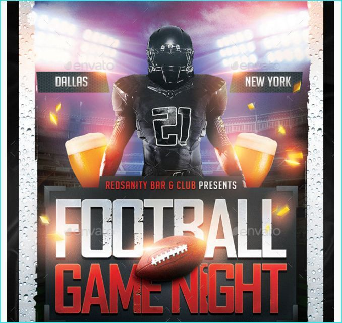 Football Game Night Flyer Party Flyer Templates For Clubs Business