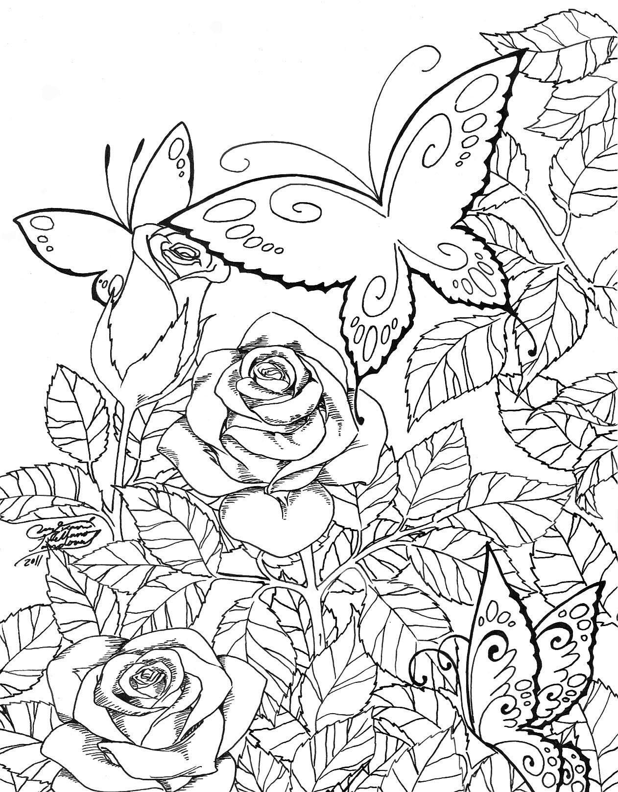 - Butterfly Garden By LucyMeryChan Garden Coloring Pages