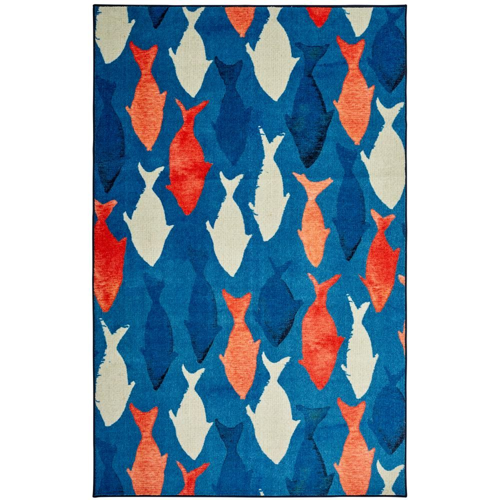 Mohawk Home Coastal Catch Navy 8 Ft X 10 Ft Indoor Area Rug Blue Mohawk Home Chevron Area Rugs Coastal Area Rugs