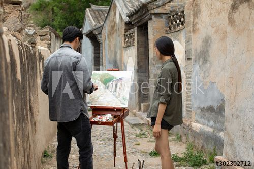 Young Chinese couple painting outdoors , #affiliate, #Chinese, #Young, #couple, #outdoors, #painting #Ad