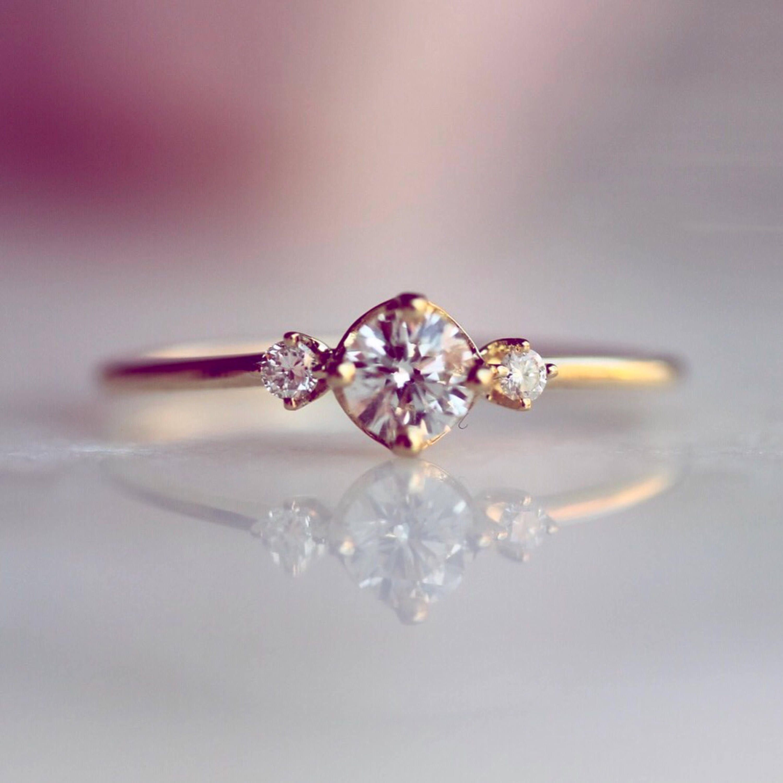 superb k diamond ring side diamond ring engagment ring minimal jewelry wedding ring - Dainty Wedding Rings