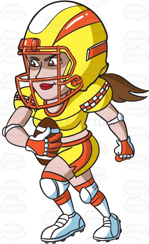 A female football player charging ahead cartoon clipart