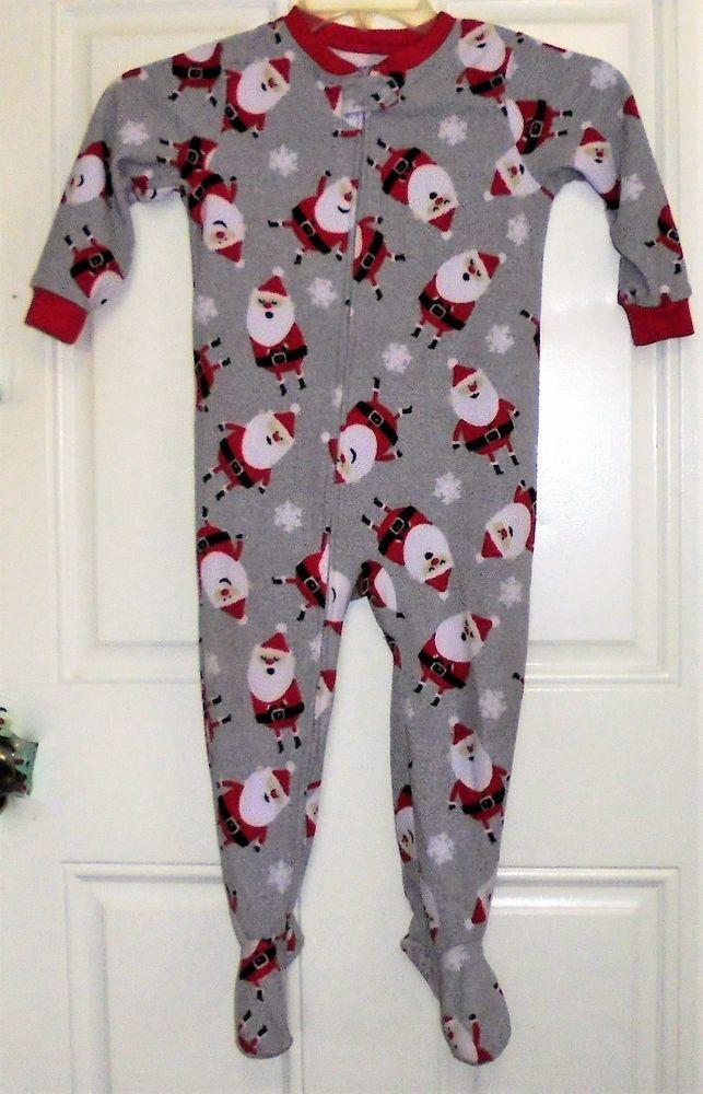 cdf4656e8 Carters Boys Santa Claus Fleece Pajamas 4T Blanket Sleeper Footed PJ ...