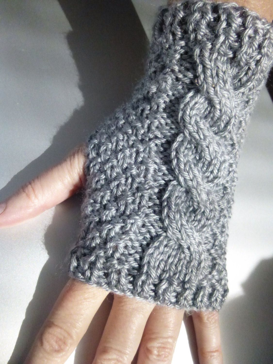 Silky Grey Cable Knit Wrist Warmers / Fingerless Gloves | Knitting ...