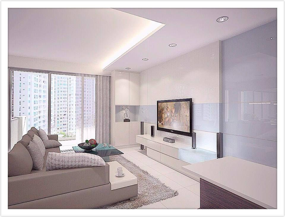 Simple clean all white design interior design singapore Clean modern interior design