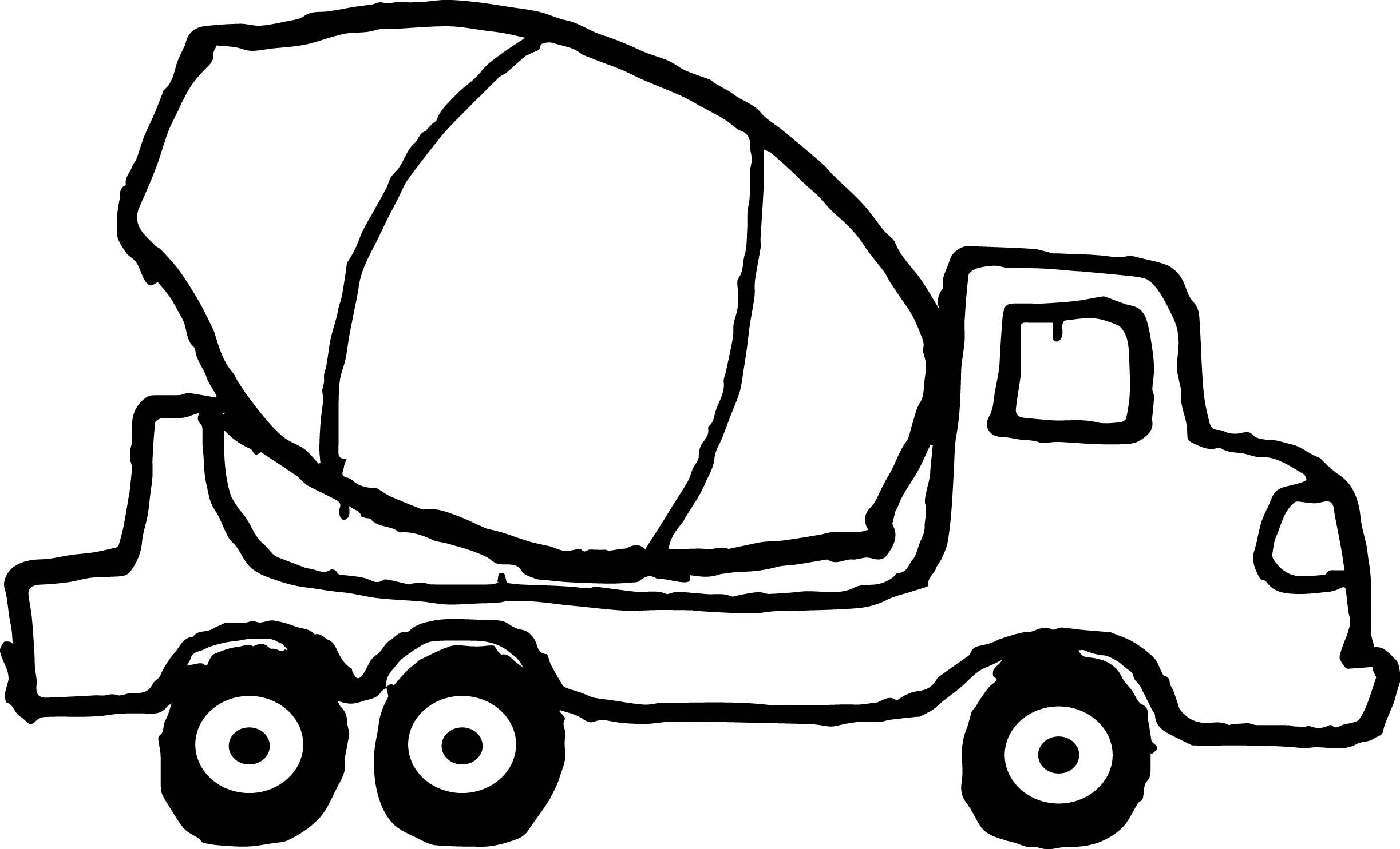 Awesome Small Cement Truck Black Tire Coloring Page