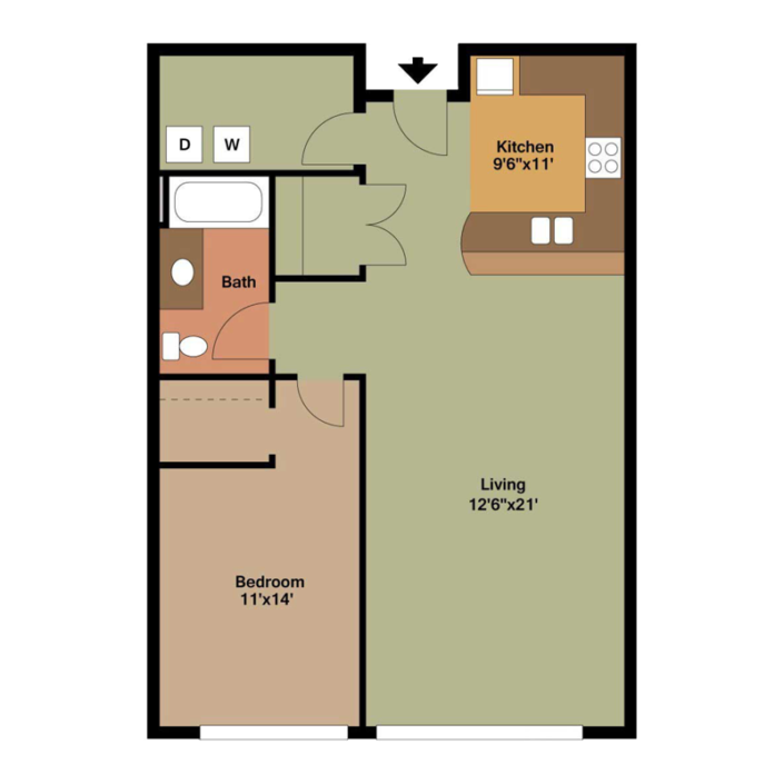 1 Bedroom Apartment Layout Google Search In 2020 Apartment Floor Plans Bedroom Apartment Floor Plans
