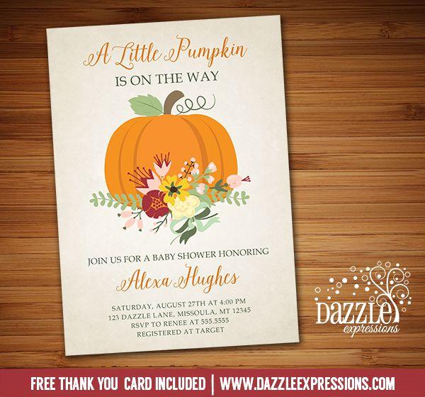 Printable Floral Pumpkin Baby Shower Invitation Fall Shower