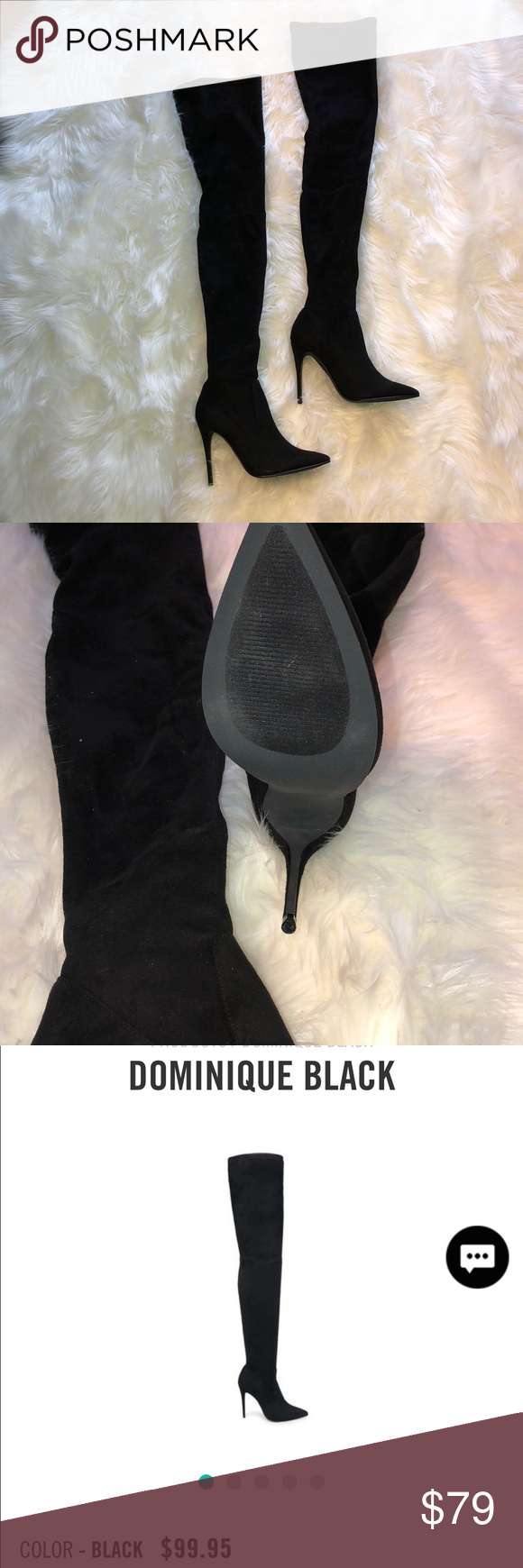 "b49f5bb6416 Steve Madden thigh high "" Dominique "" boots    Seen on Cardi B    Brand new  in box Pull on boot 24inch shaft height 4 inch heel Suede Stiletto heel  Pointed ..."