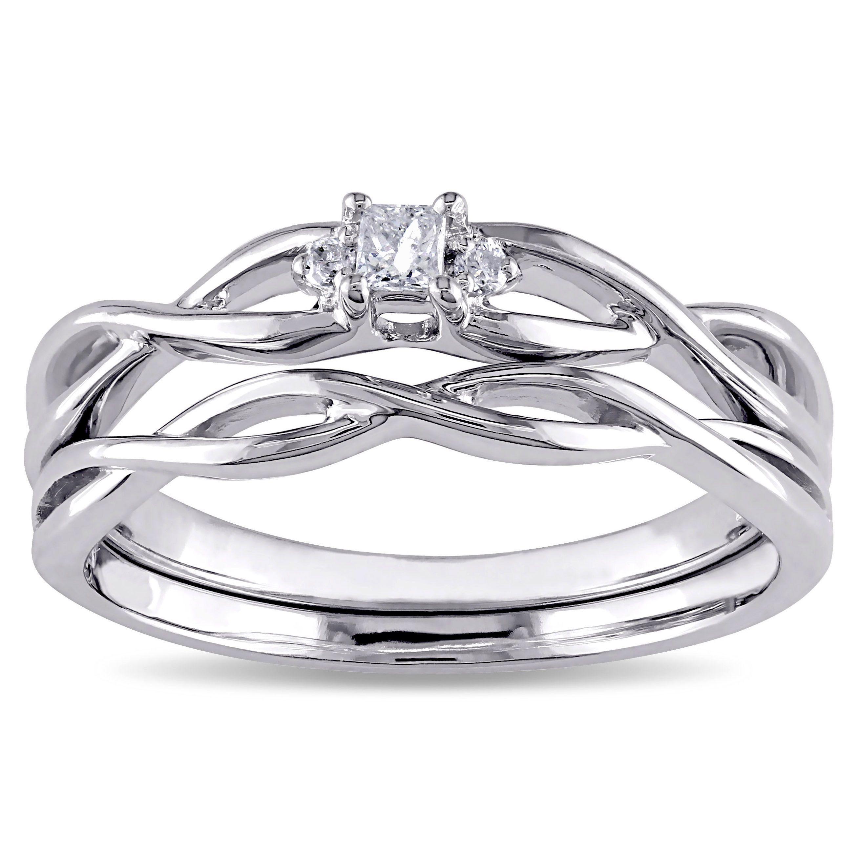 Miadora 10k White Gold Diamond Accent Infinity Princess cut Bridal