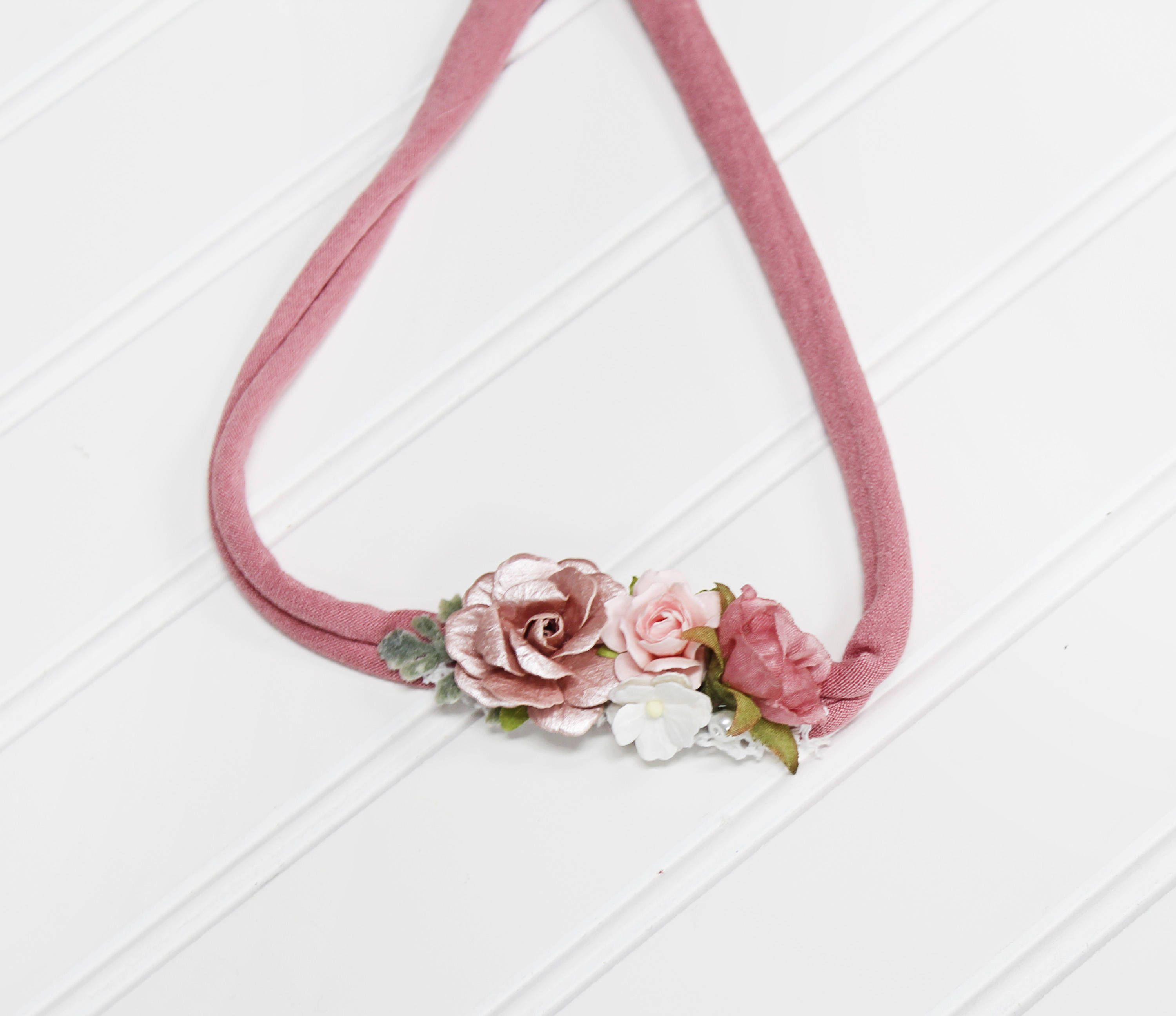 Made You Blush Beautiful Dainty Flower Headband In Dusty Rose