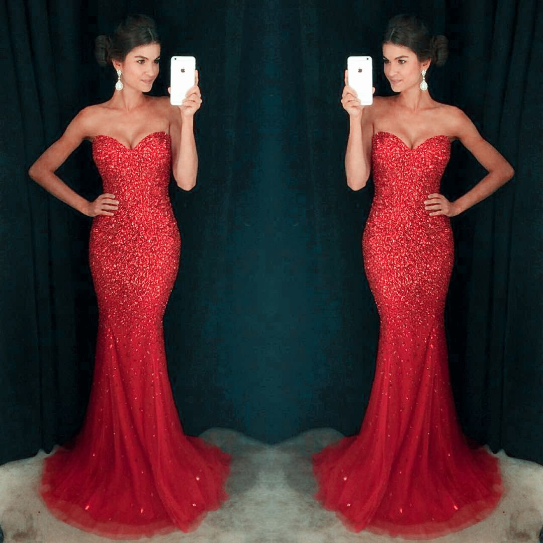 Sweetheart red sequin sexy mermaid tulle rhinestone prom dresses