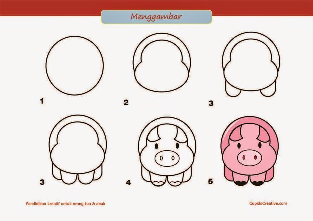 Kerajinan Anak SD Paud Cara Langkah Menggambar Babi Kerajinan