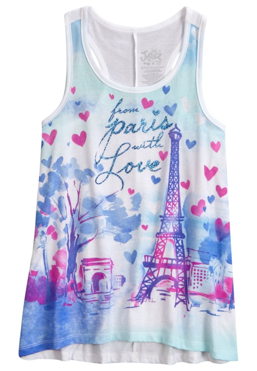 Paris Graphic Tank (original price $12.00) available at #Justice | Summer Clothes | Pinterest ...