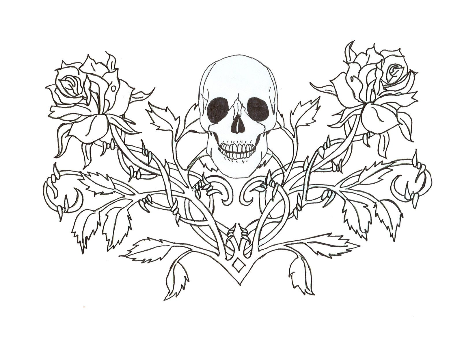 gothic skull tattoo wallpaper | coloring pages for adults | pinterest - Coloring Pages Roses Skulls