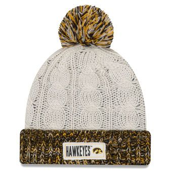 7c398c9b Women's New Era Cream/Black Iowa Hawkeyes Rugged Tag Cuffed Knit Hat with  Pom