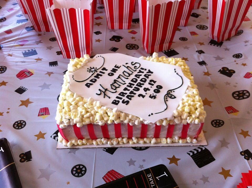 Movie Night Popcorn Cake With Images Movie Cakes Popcorn Cake