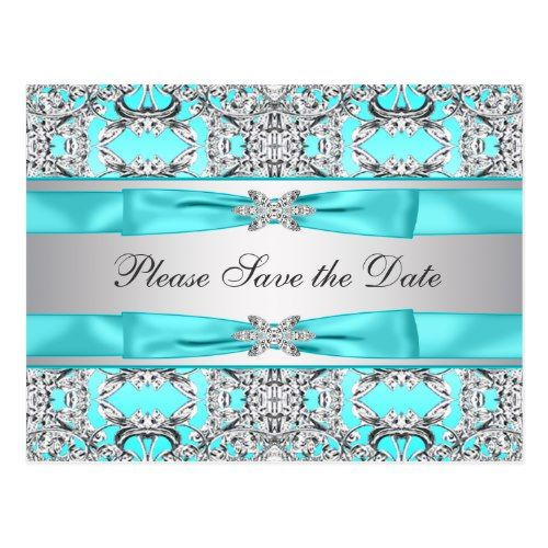 Teal Blue Silver Save The Date Postcard Blue Birthday Party