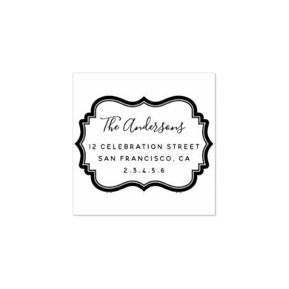 Elegant Badge Family Name Script  Return Address Rubber Stamp