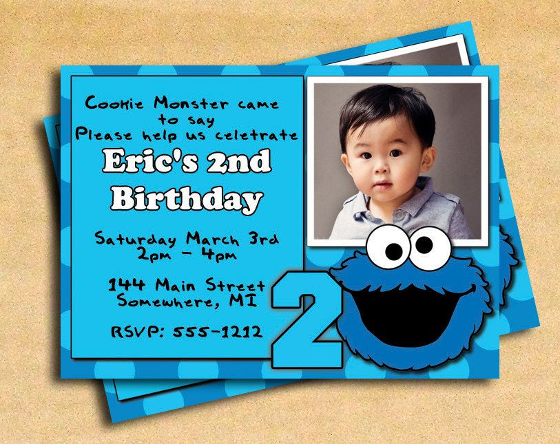 Personalized Cookie Monster Birthday Card Perfect Since Parker Is