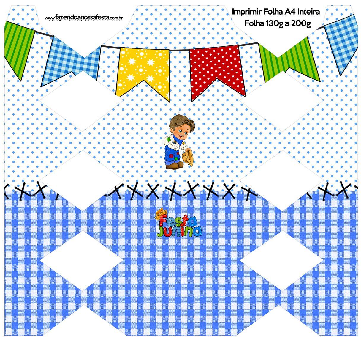 Caixa Bala Festa Junina Azul