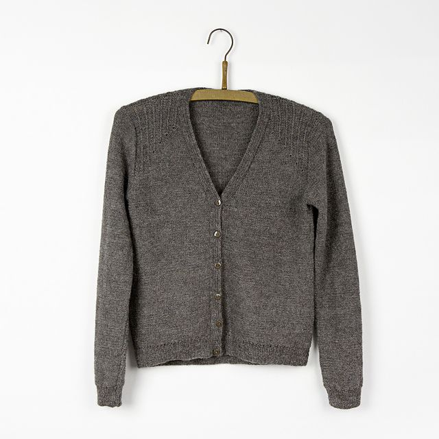 db5843940 Classic cardigan knitted in reverse stockinette stitch with a ...