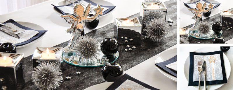 schwarz silber mit engel tischdeko weihnachten. Black Bedroom Furniture Sets. Home Design Ideas