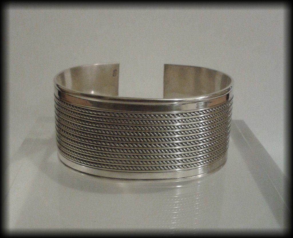 Twisted Wire Design | Vintage Heavy 925 Solid Sterling Silver Twisted Wire Design Cuff