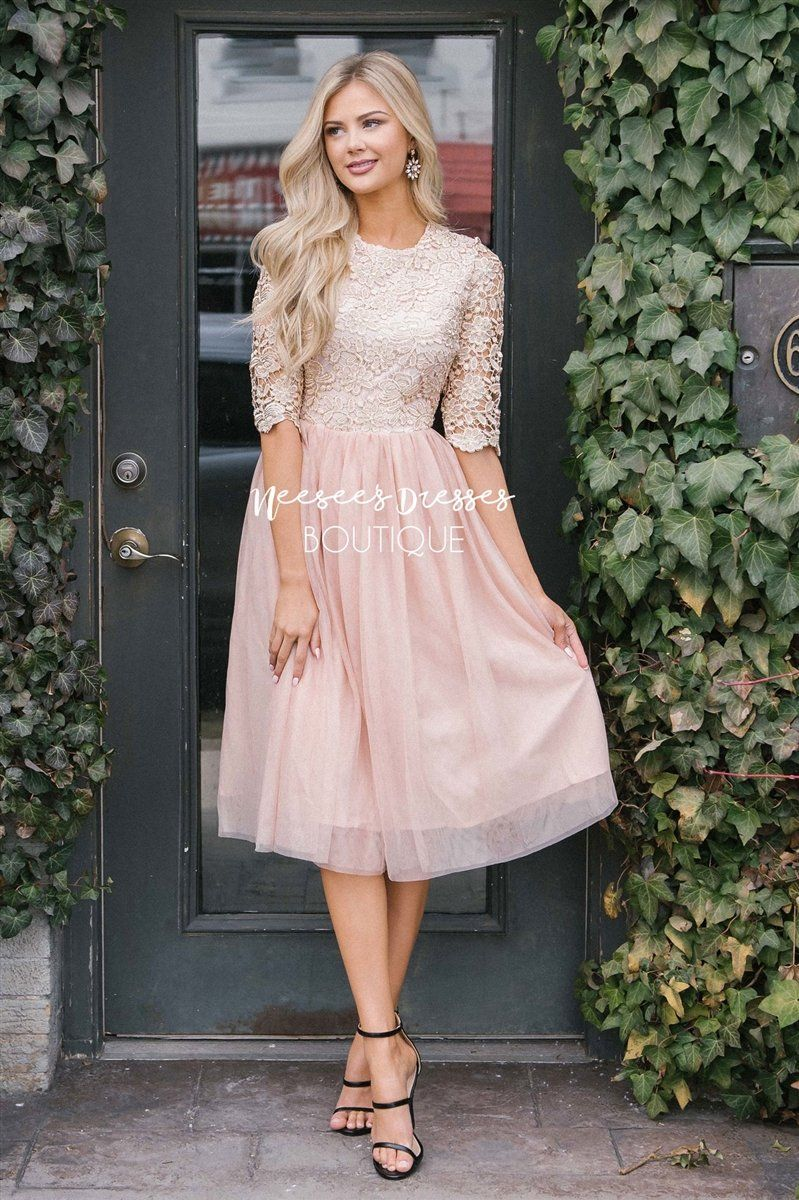 86b407cae8b Shimmery Pink Tulle Sparkly Modest Dress