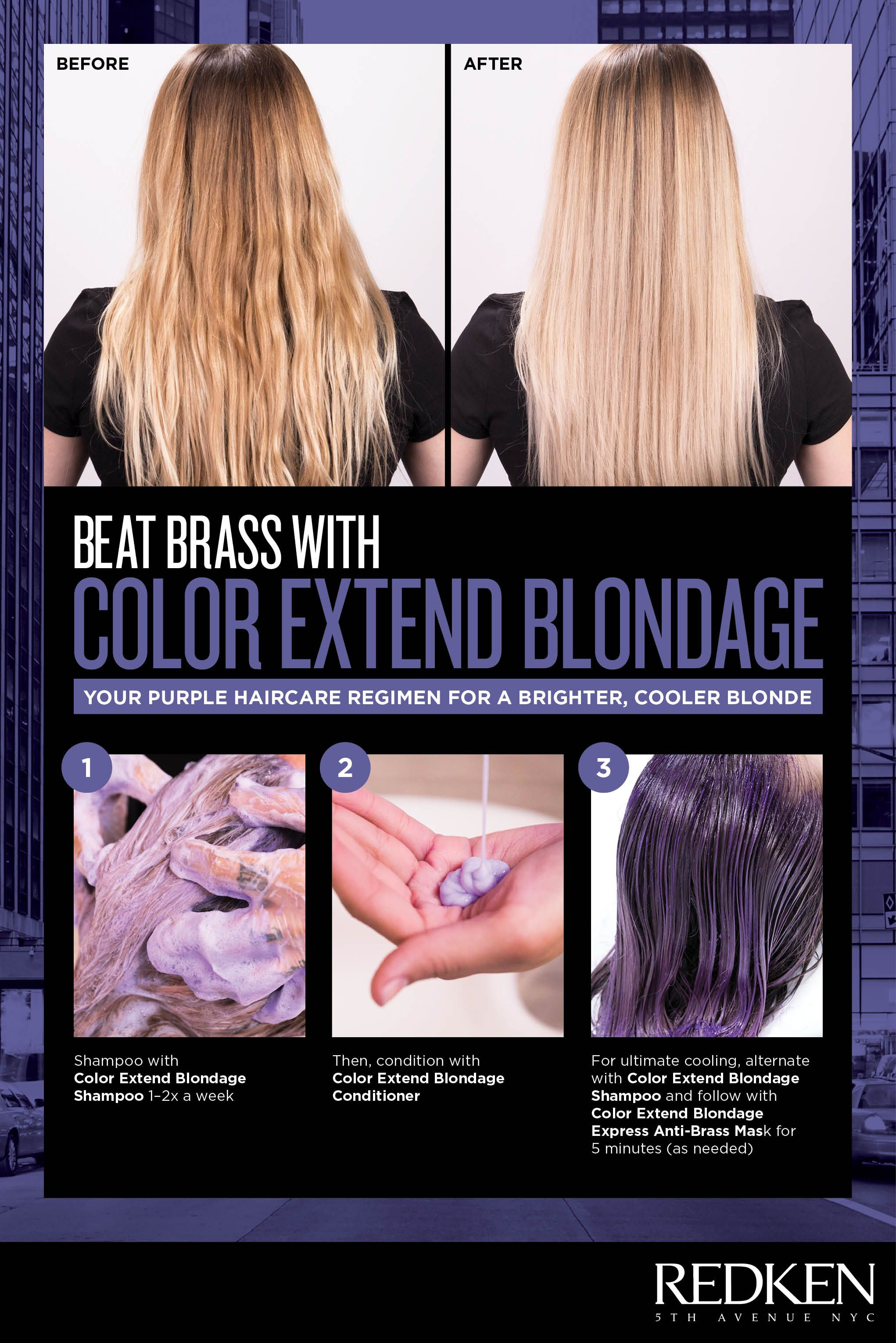 Tone Brassy Hair With Redken Color Extend Blondage Discover The Perfect Haircare Regimen For Y Purple Shampoo For Blondes Purple Shampoo Redken Purple Shampoo