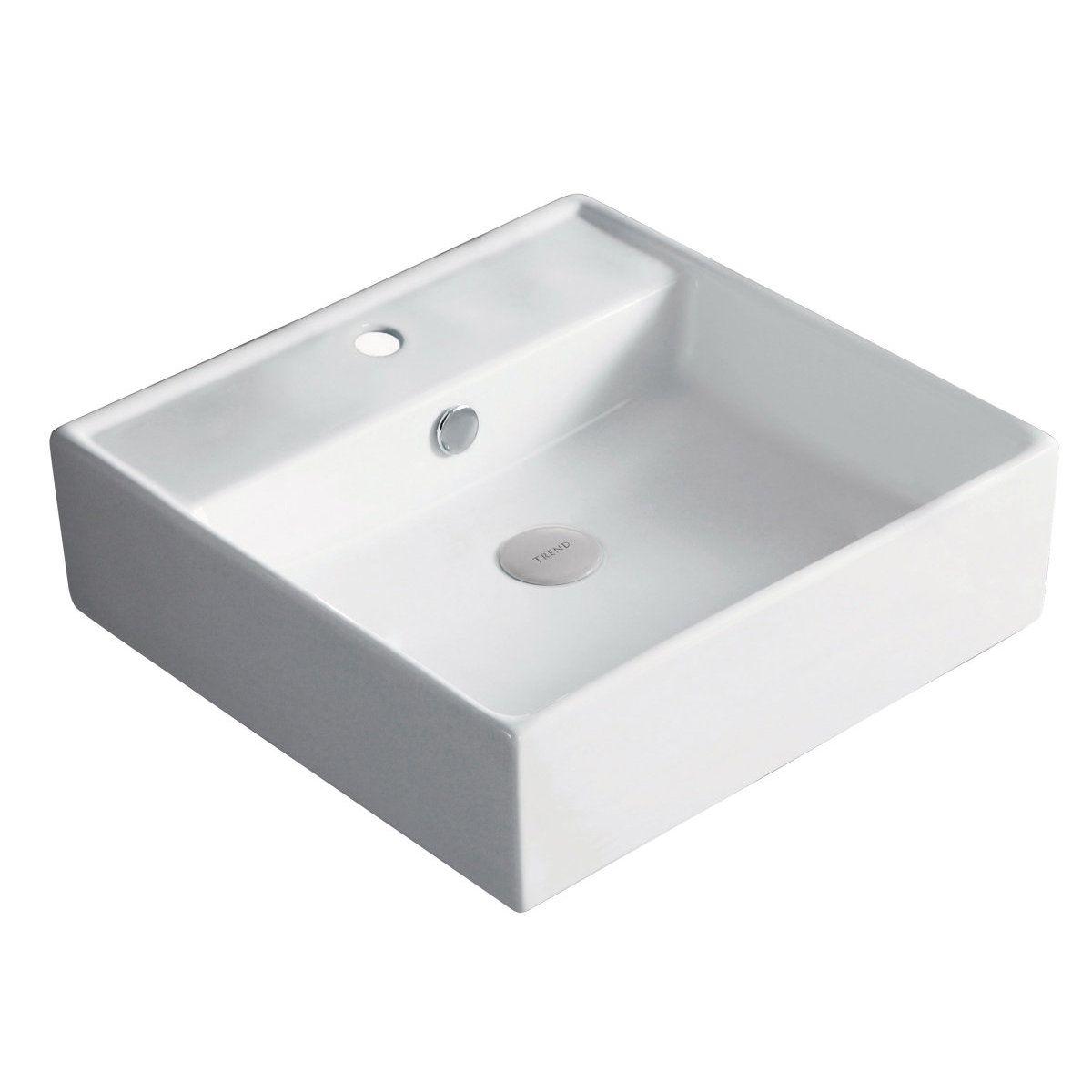 vasque avec trop plein int gr Vasque à poser Domino carré 46,5x46,5 cm avec plage de robinetterie et
