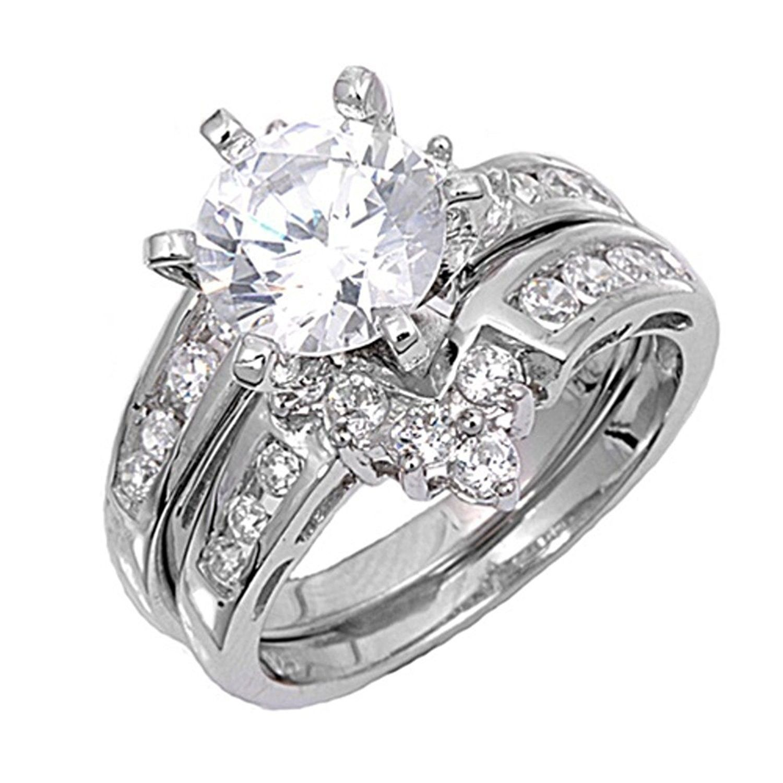 Sterling Silver Custom Engagement Ring Wedding Band Bridal