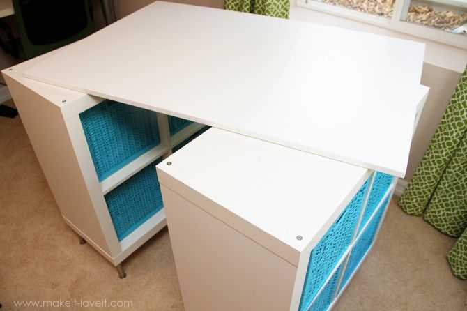 Make a counter height Craft Table (from 2 shelves, a table top, and