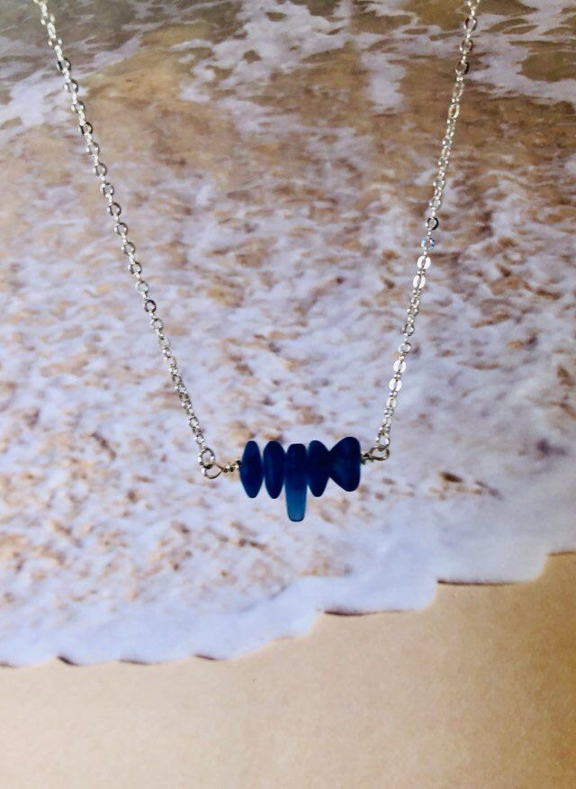 Photo of Sea Glass Necklace Sterling Silver Gold Filled Cobalt Blue