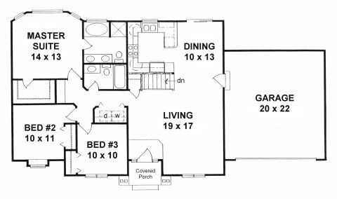 Plan # 1272 - Ranch   First floor plan