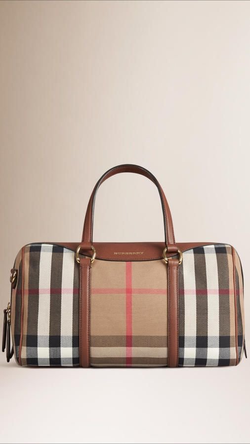 Burberry The Medium Alchester In House Check And Leather - $1,595.00