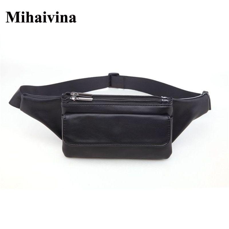 b4e21bc2cca Mihaivina Leather Women Waist Bag Economic Unisex Waist Packs Men ...