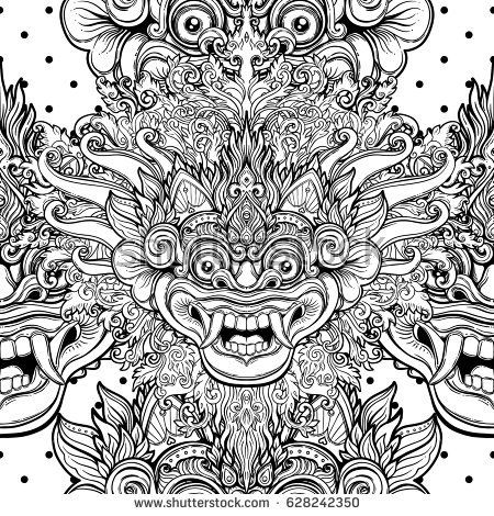 barong traditional ritual balinese mask vector decorative ornate outline black and white seamless pattern hindu ethni ornate tattoo balinese tattoo balinese barong traditional ritual balinese