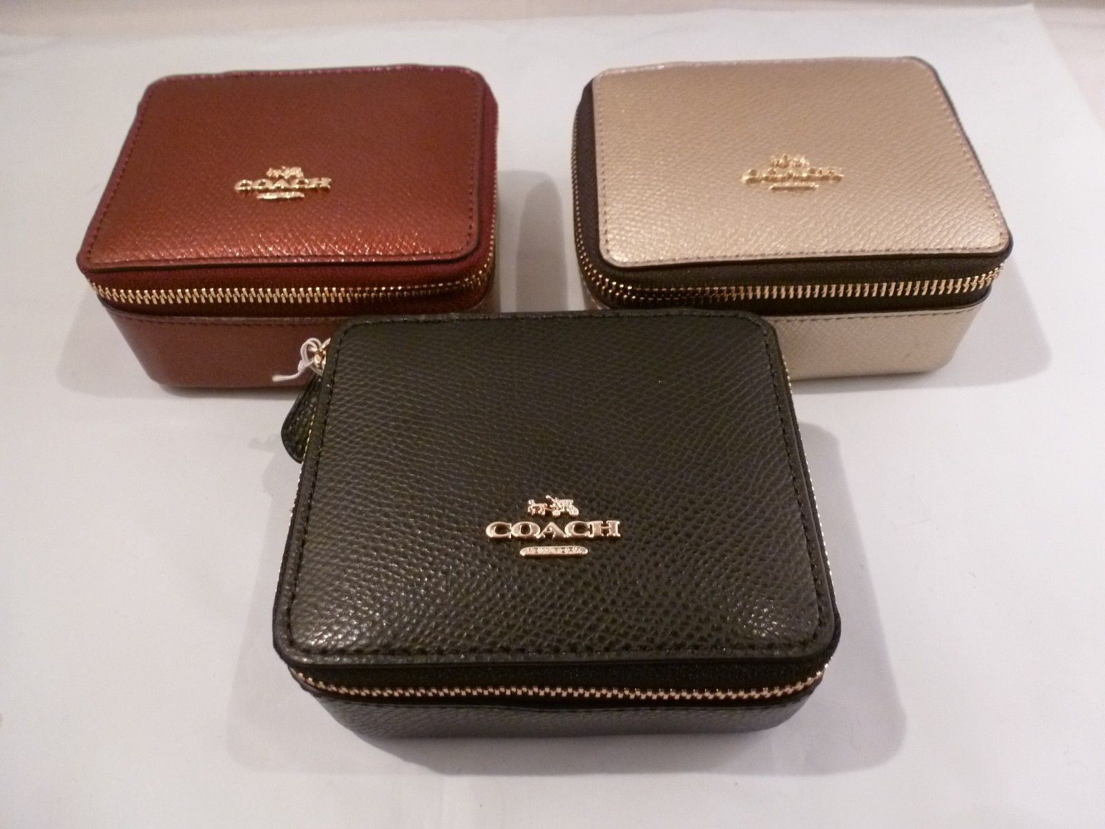 NWT COACH Jewelry CaseBox METALLIC CHERRY BLACK OR GOLD LEATHER