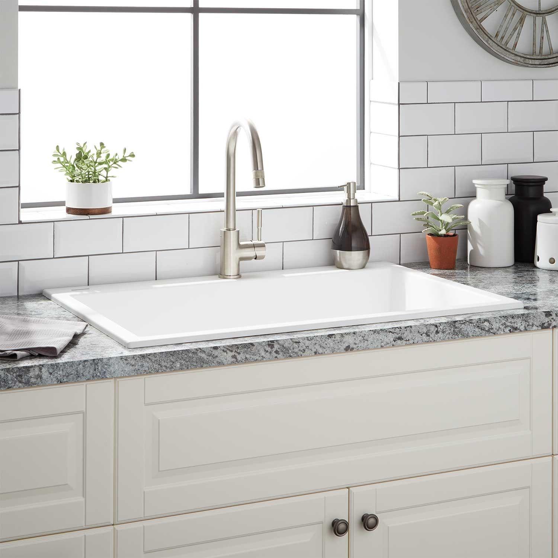33 Algren Drop In Granite Composite Sink Cloud White Granite