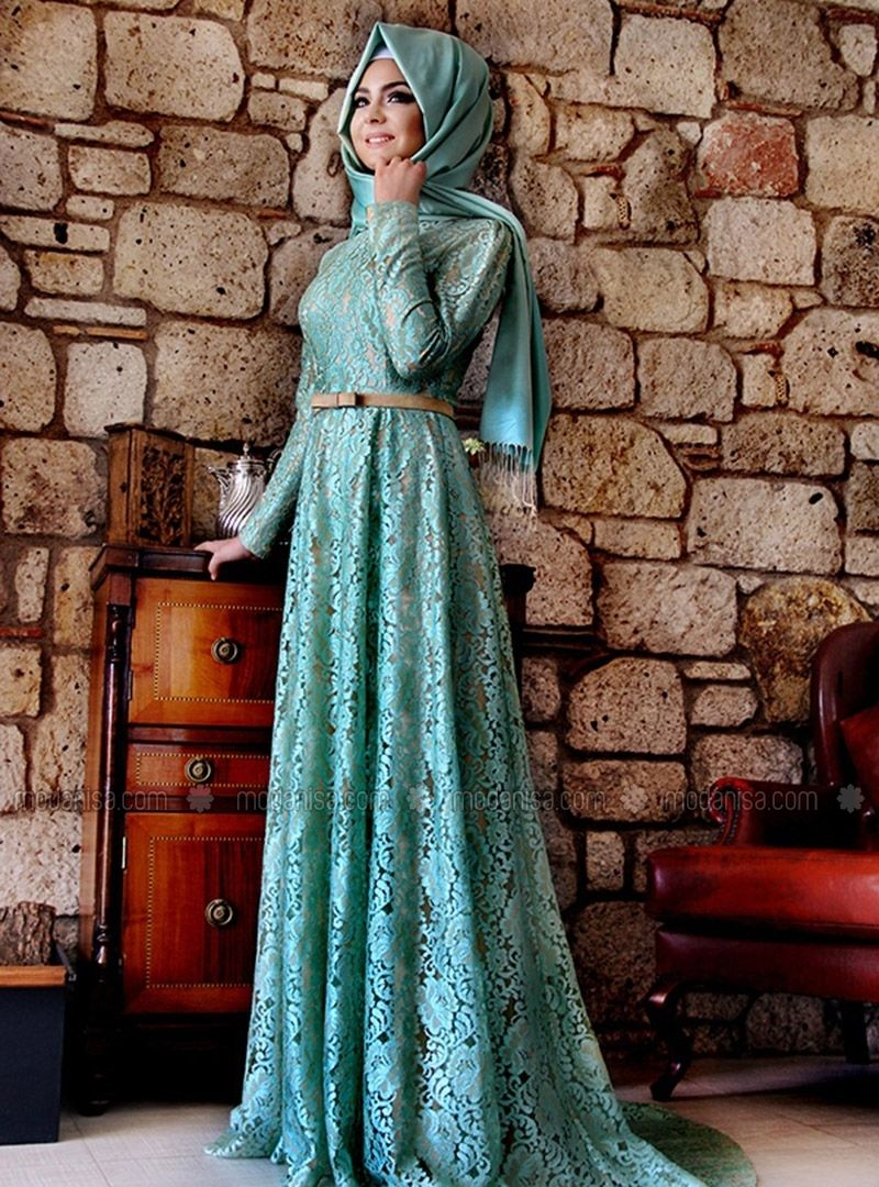 Esra Lace Gowns - Green, Muslim Evening Dresses. Modanisa your ...