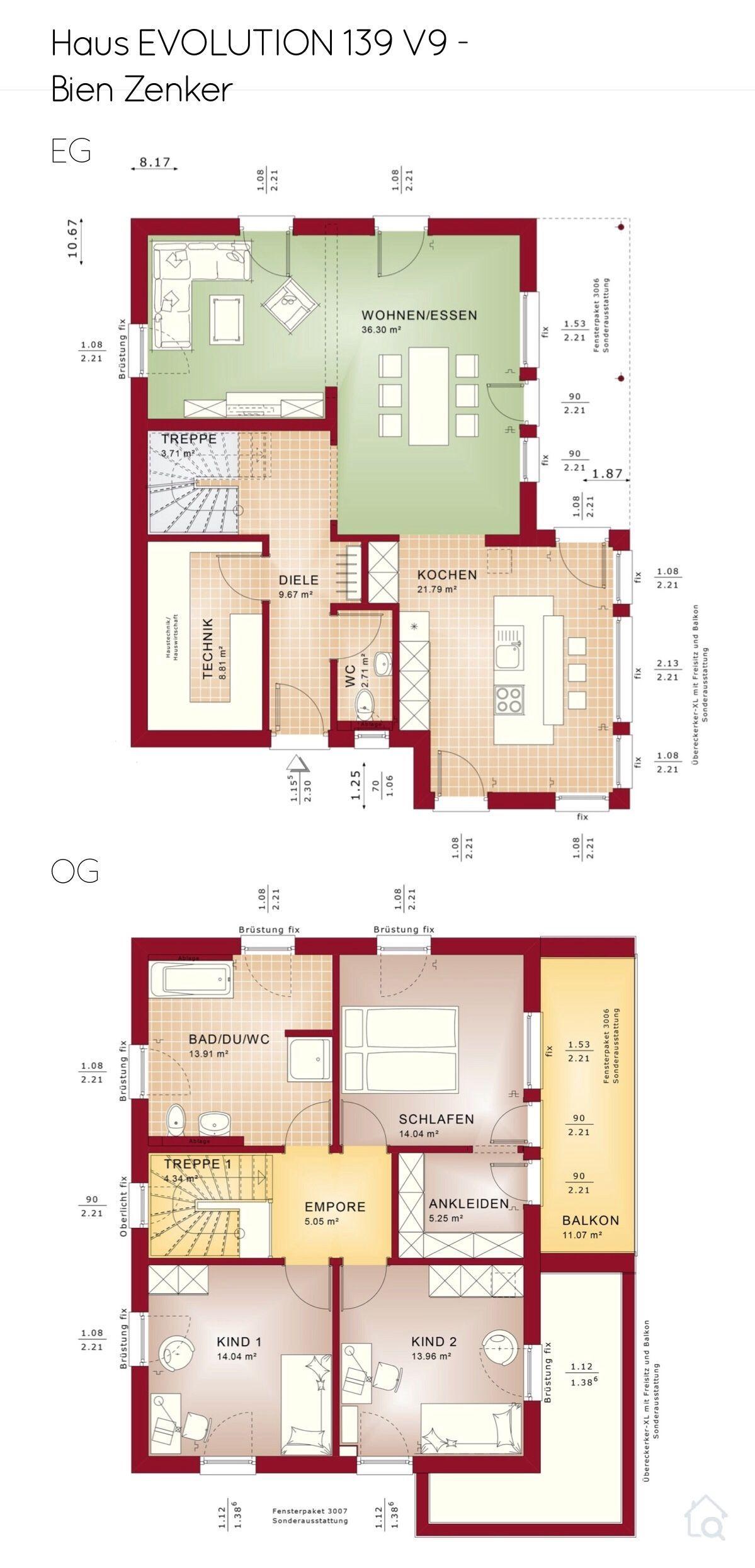 Grundriss Einfamilienhaus Stadtvilla modern mit Flachdach