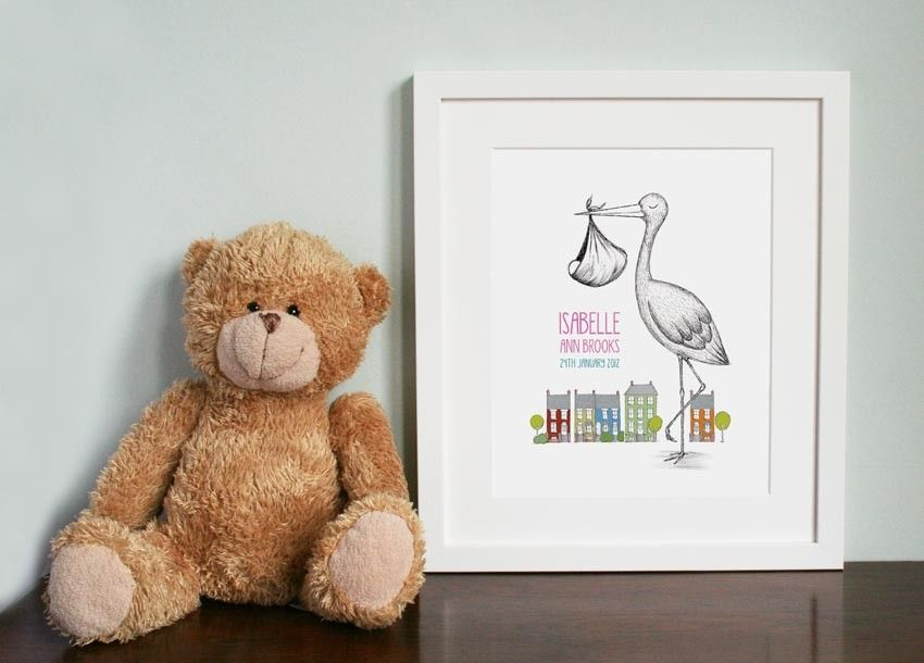 Baby gift -  Stork & colourful streetscape illustration