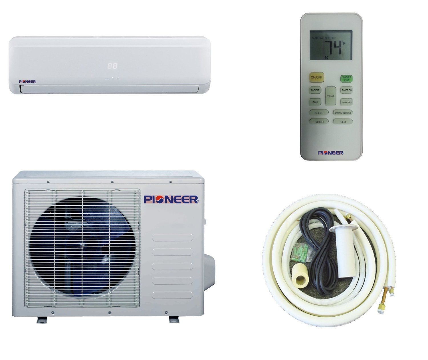 Pioneer ductless wall mount mini split for Small 1 room air conditioner