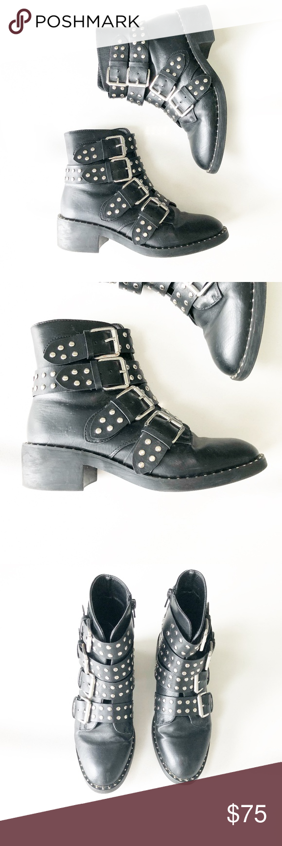 9c3229e6c1a9 Black Studded Buckle Flat Ankle Boots Glamorous Black Studded Buckle Flat  Ankle Boots Faux-leather