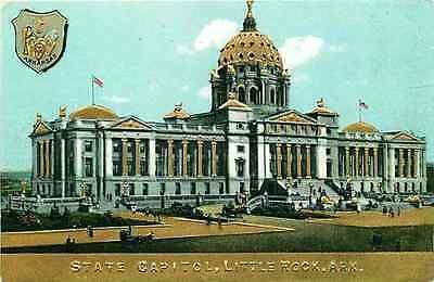 Little Rock Arkansas AR 1908 Gold Embossed State Capitol & Seal Vintage Postcard