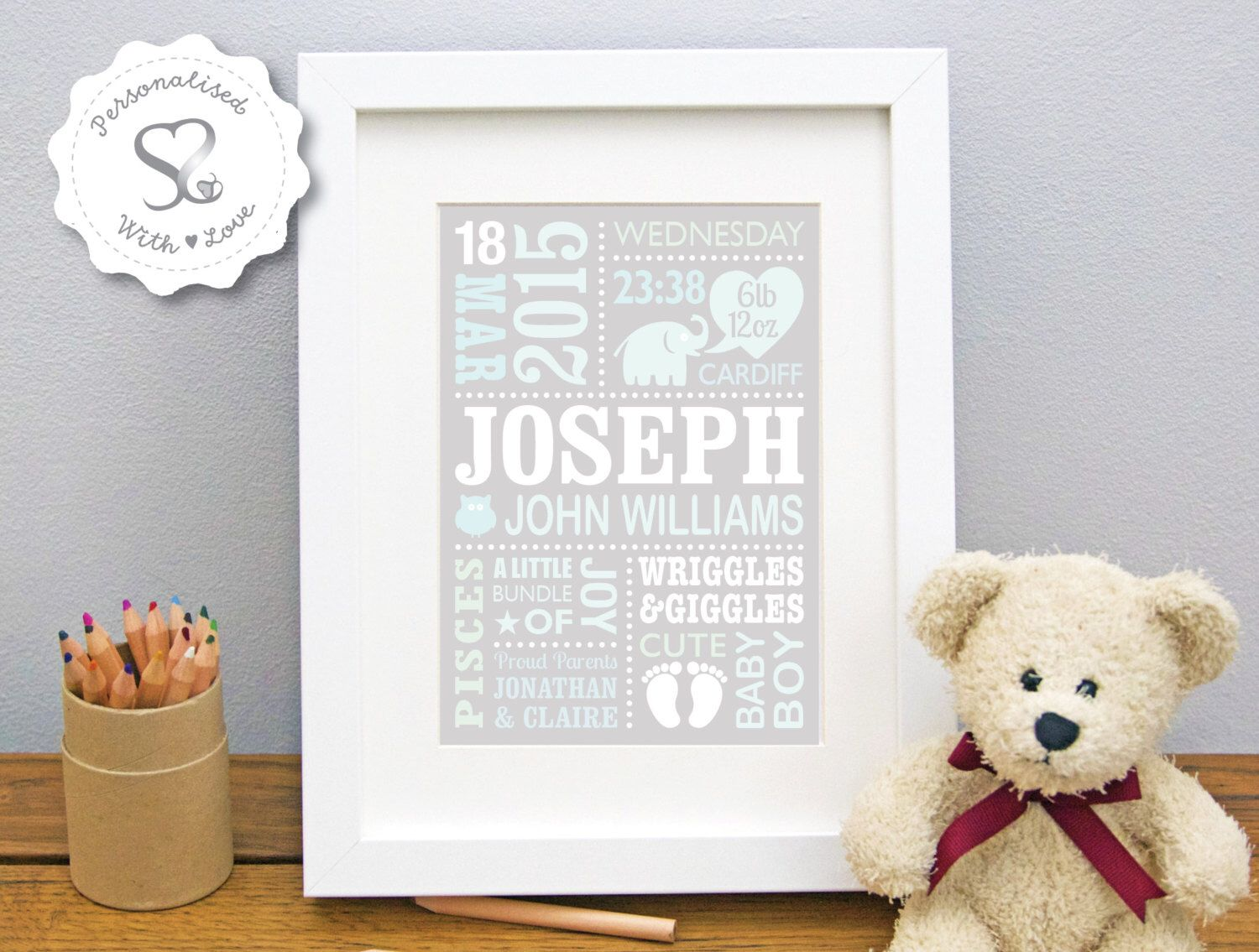 Personalised Girl Elephant Print Birth Christening Gift Nursery Wall Art Picture