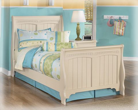 Cottage Retreat Cream Wood Twin Sleigh Bed Cheap Bedroom